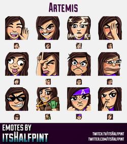 Artemis  | Twitch Emotes | Cute Emotes | Custom Twitch Emotes | Emote Commissions | itsHalfpint | Mi