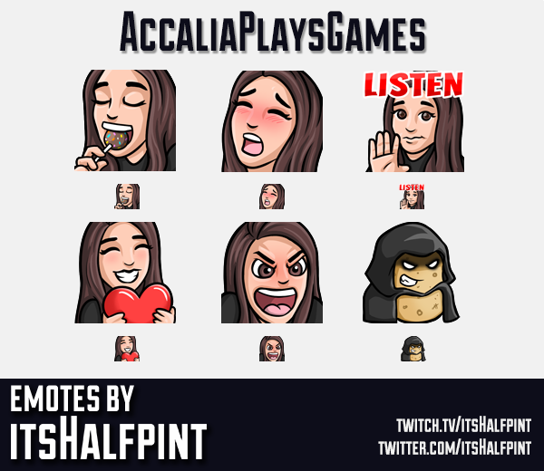 AccaliaPlaysGames | AccaliaPlays  | Twitch Emotes | Cute Emotes | Custom Twitch Emotes | Emote Commi