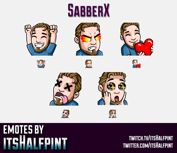 SabberX  | Twitch Emotes | Cute Emotes | Custom Twitch Emotes | Emote Commissions | itsHalfpint | Mi