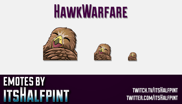HawkWarfare | Twitch Emotes | Cute Emotes | Custom Twitch Emotes | Emote Commissions | itsHalfpint |