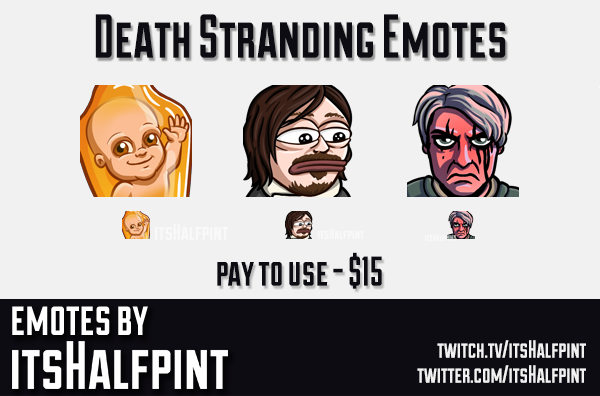 Death Stranding  | Twitch Emotes | Cute Emotes | Custom Twitch Emotes | Emote Commissions | itsHalfp