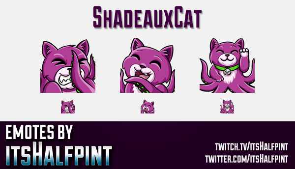 ShadeauxCat | Twitch Emotes | Cute Emotes | Custom Twitch Emotes | Emote Commissions | itsHalfpint |