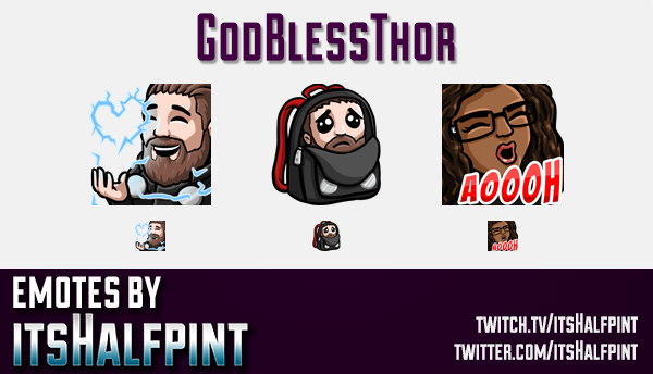 GodBlessThor  | Twitch Emotes | Cute Emotes | Custom Twitch Emotes | Emote Commissions | itsHalfpint