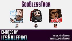 GodBlessThor  | Twitch Emotes | Cute Emotes | Custom Twitch Emotes | Emote Commissions | itsHalfpint