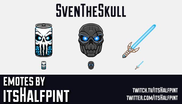 SvenTheSkull | Twitch Emotes | Cute Emotes | Emote Commissions | itsHalfpint