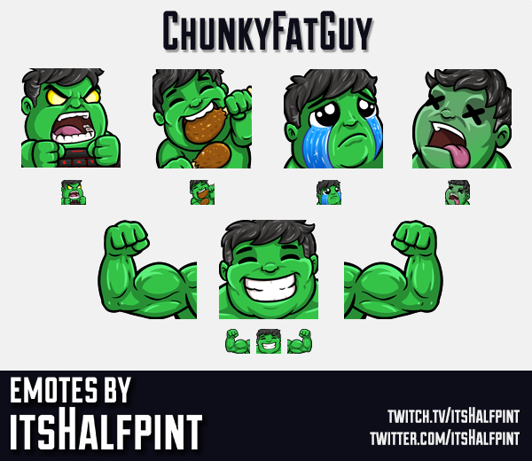 ChunkyFatGuy | hulk | marvel |  | Twitch Emotes | Cute | Custom | Commissions | itsHalfpint