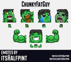 ChunkyFatGuy | hulk | marvel |  | Twitch Emotes | Cute | Custom | Commissions | itsHalfpint