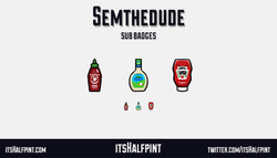 Semthedude itsHalfpint   Twitch   Sub Badges   Twitch emotes   Emote artist   commission cute sauces