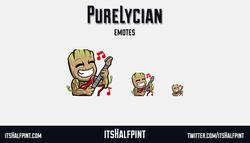 PureLycian | itsHalfpint emote artist| Twitch Emotes | Cute | Custom | Commissions  baby groot marve