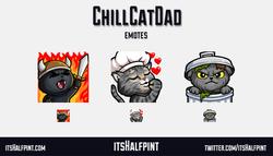 ChillCatDad | itsHalfpint emote artist| Twitch Emotes | Cute | Custom | Commissions  Cats Raid Chef