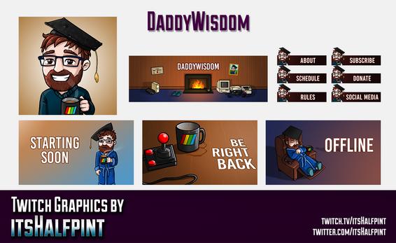 DaddyWisdom itsHalfpint twitch emote artist | sub bit badge | avatar logo illustration | custom stream screens panels offline brb