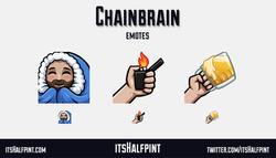 Chainbrain cozy beer lighter | itsHalfpint emote artist| Twitch Emotes | Cute | Custom | Commissions