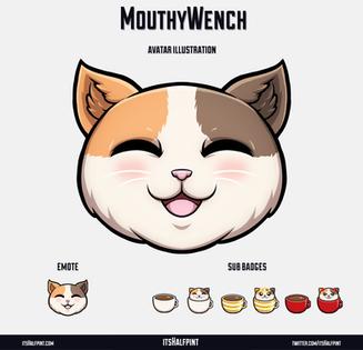MouthyWench itsHalfpint twitch emote artist   sub bit badge   avatar logo illustration   custom cute pet cat