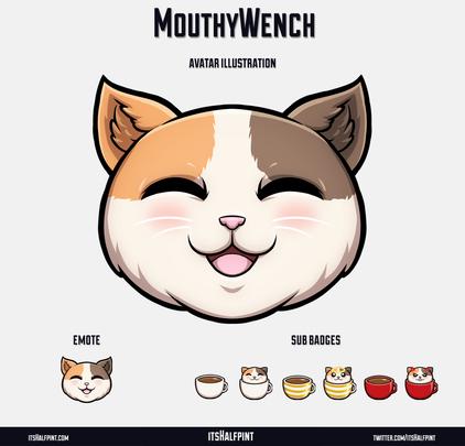 MouthyWench itsHalfpint twitch emote artist | sub bit badge | avatar logo illustration | custom cute pet cat