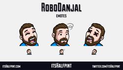RoboDanjal | itsHalfpint emote artist| Twitch Emotes | Cute | Custom | Commissions  LUL confused RIP
