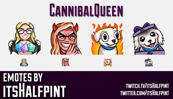 CannibalQueen  | Twitch Emotes | Cute Emotes | Custom Twitch Emotes | Emote Commissions | itsHalfpin