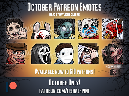 twitch emotes dead by daylight cute freddy ghostface halloween