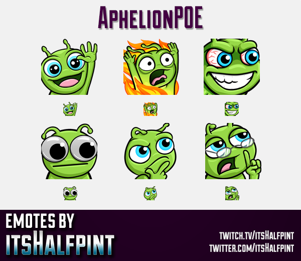 AphelionPOE  | Twitch Emotes | Cute Emotes | Custom Twitch Emotes | Emote Commissions | itsHalfpint