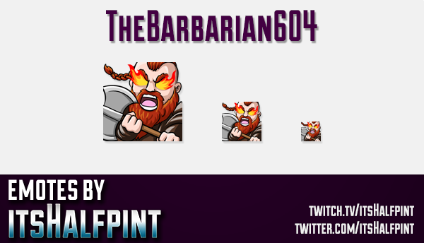 TheBarbarian604  | Twitch Emotes | Cute Emotes | Custom Twitch Emotes | Emote Commissions | itsHalfp