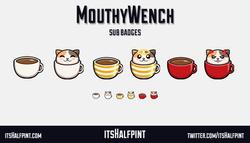 MouthyWench itsHalfpint   Twitch   Sub Badges   Twitch emotes   Emote artist   commission cute cat k