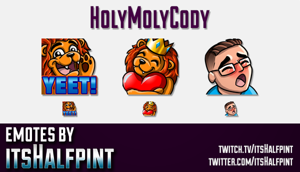 HolyMolyCody | Twitch Emotes | Cute Emotes | Custom Twitch Emotes | Emote Commissions | itsHalfpint