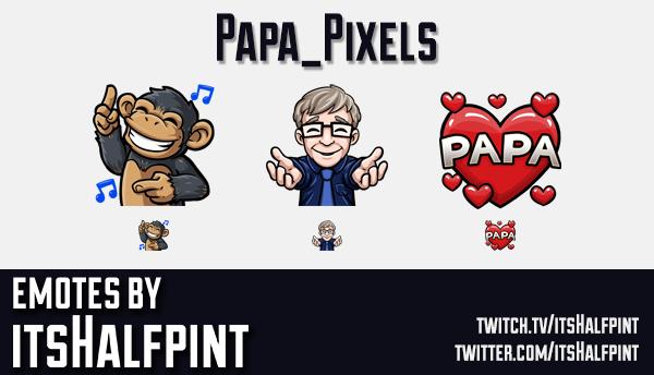 Papa_Pixels | Twitch Emotes | Cute Emotes | Emote Artist | itsHalfpint