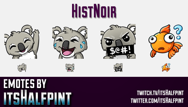HistNoir  | Twitch Emotes | Cute Emotes | Custom Twitch Emotes | Emote Commissions | itsHalfpint | M