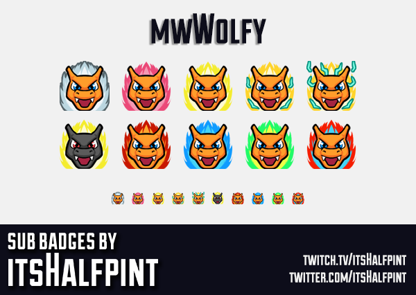 TheBoyWolfy | Twitch Sub Badges | Pokemon | Charizard