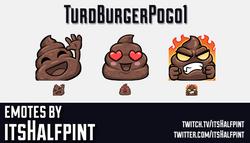 TurdBurgerPogo1 | Twitch Emotes | Cute Emotes | Emote Artist | itsHalfpint