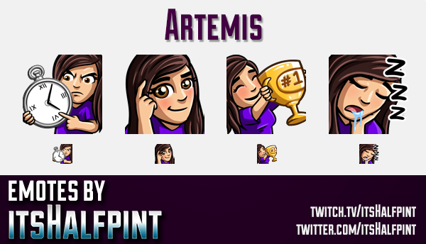 Artemis  | Twitch Emotes | Cute Emotes | Custom Twitch Emotes | Emote Commissions | itsHalfpint | Mi
