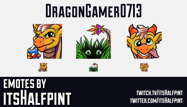 DragonGamer0713 | Dragon Emotes  | Twitch Emotes | Cute Emotes | Custom Twitch Emotes | Emote Commis