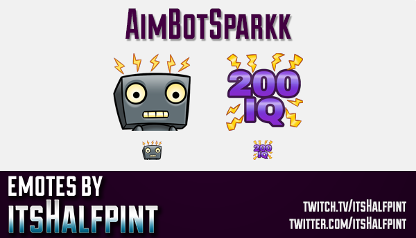 AimBotSparkk | Twitch Emotes | Cute Emotes | Custom Twitch Emotes | Emote Commissions | itsHalfpint