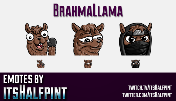 BrahmaLlama  | Twitch Emotes | Cute Emotes | Custom Twitch Emotes | Emote Commissions | itsHalfpint