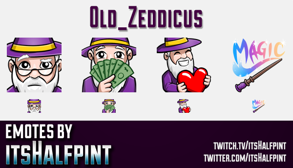 Old_Zeddicus  | Twitch Emotes | Cute Emotes | Custom Twitch Emotes | Emote Commissions | itsHalfpint