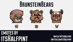 BrunsteinBears  | Twitch Emotes | Cute Emotes | Custom Twitch Emotes | Emote Commissions | itsHalfpi