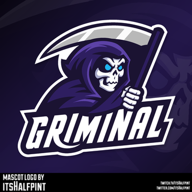 Griminal - Grim reaper logo mascot illustration vector clean cool modern