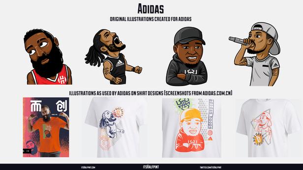 ADIDAS Shirt Illustrations James Harden Damian Lillard Derrick Rose Donovan Mitchell sports caricature