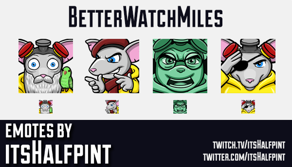 BetterWatchMiles  | Twitch Emotes | Cute Emotes | Custom Twitch Emotes | Emote Commissions | itsHalf