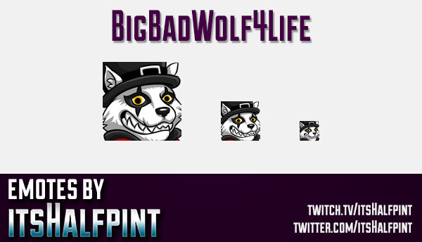 BigBadWolf4Life  | Twitch Emotes | Cute Emotes | Custom Twitch Emotes | Emote Commissions | itsHalfp