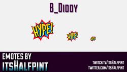 B_Diddy  | Twitch Emotes | Cute Emotes | Custom Twitch Emotes | Emote Commissions | itsHalfpint | Mi
