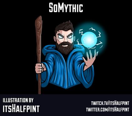 SoMythic itsHalfpint twitch emote artist | sub bit badge | avatar logo illustration | custom wizard character D&D