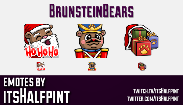 BrunsteinBears  | xmas emotes | Twitch Emotes | Cute Emotes | Custom Twitch Emotes | Emote Commissio