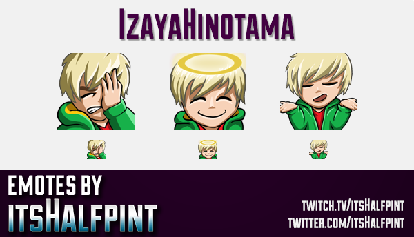 IzayaHinotama | Twitch Emotes | Cute Emotes | Custom Twitch Emotes | Emote Commissions | itsHalfpint
