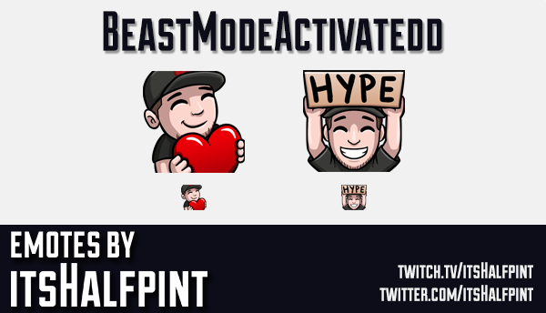 BeastModeActivatedd | Twitch Emotes | Cute Emotes | Emote Artist | itsHalfpint