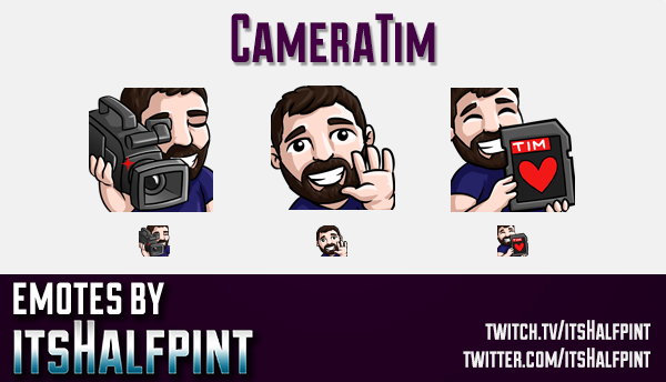 CameraTim  | Twitch Emotes | Cute Emotes | Custom Twitch Emotes | Emote Commissions | itsHalfpint |