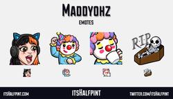 Maddyohz - twitch emotes pogchamp shock dance sip clown rip cute funny