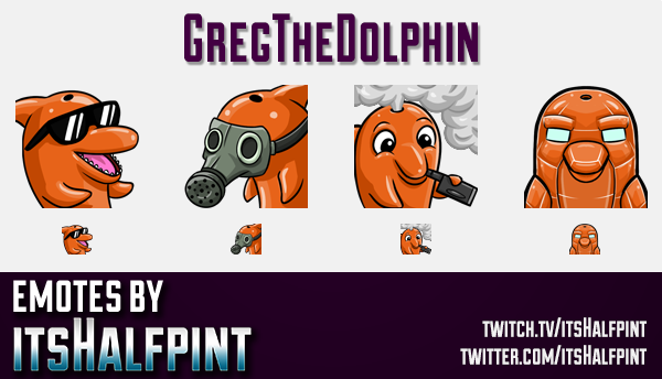 GregTheDolphin | Twitch Emotes | Cute Emotes | Custom Twitch Emotes | Emote Commissions | itsHalfpin