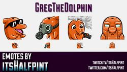 GregTheDolphin | Twitch Emotes | Cute Emotes | Custom Twitch Emotes | Emote Commissions | itsHalfpin