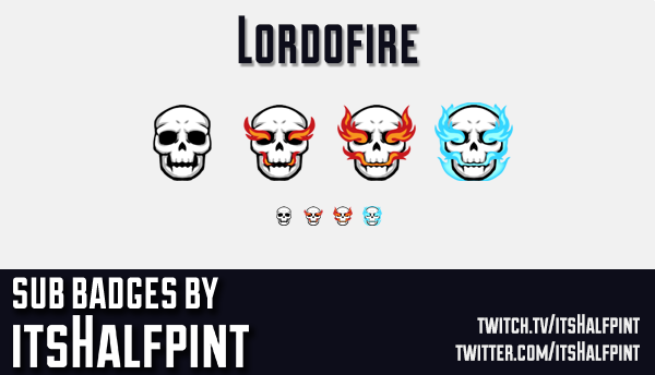 Lordofire | Twitch Sub Badges | Bit Badg