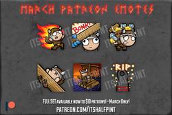 PATREON Valheim| itsHalfpint emote artist| Twitch Emotes | Cute | Custom | Commissions  bonk fire tr